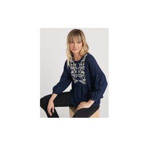Blue Willow Embroidered Peasant Blouse